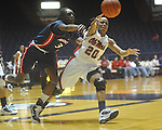 "Ole Miss' Kayla Melson (20) is fouled by Arizona's Ify Ibekwe (3) at the C.M. ""Tad"" Smith Coliseum in Oxford, Miss. on Thursday, November 18, 2010. Arizona won 72-70."
