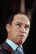 Ottawa, Canada, February 1980. Joseph Philippe Pierre Yves Elliott Trudeau, (October 18, 1919 - September 28, 2000), was the 15th Prime Minister of Canada from April 20, 1968 to June 4, 1979, and again from March 3, 1980 to June 30, 1984. - Press conference during his political campaign for the February 1980 elections.