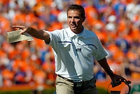 GAINESVILLE, FL 9/30/06-Florida Coach Urban Meyer shouts directions during first half action against Alabama, Saturday at Ben Hill Griffin Stadium in Gainesville. COLIN HACKLEY PHOTO