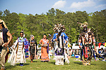 Charles Hankinson (Eagle Tail) (second from right), a Native American from the Micmac tribe of Canada, and Keith Anderson, his dancing brother (right), dance at the 8th Annual Redwing PowWow in Virginia Beach, Virginia.