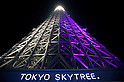 May 24, 2012, Asakusa, Japan - Tokyo Skytree is illuminated in purple which expresses the Japanese aesthetic sense, elegant and dignified image of the tower. ..Tokyo Skytree has two lighting styles, the concept of the design is based on Japanese  aesthetic &quot;Miyabi&quot; in purple and blue &quot;Iki&quot; represents the essence of Kokoroiki. The tower opened to the public on May 22nd 2012 and at 634m is the worlds' 2nd tallest building and the worlds' tallest tower.