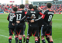 06 October 2012: D.C. United forward Hamdi Salihi #9 celebrates the only goal with his teamates during an MLS game between DC United and Toronto FC at BMO Field in Toronto, Ontario Canada. .D.C. United won 1-0..