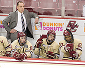 Mike Cavanaugh (BC - Associate Head Coach), Michael Sit (BC - 18), Danny Linell (BC - 10), Quinn Smith (BC - 27) - The Boston College Eagles defeated the visiting Northeastern University Huskies 3-0 after a banner-raising ceremony for BC's 2012 national championship on Saturday, October 20, 2012, at Kelley Rink in Conte Forum in Chestnut Hill, Massachusetts.