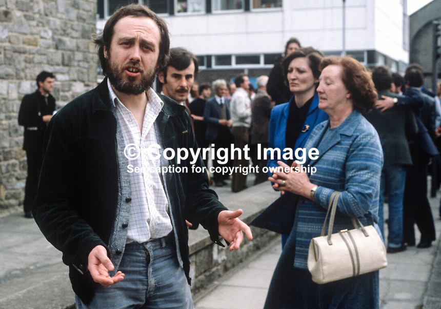 Danny Morrison, Provisional Sinn Fein Director of Publicity, with the mother, Mrs Rosaleen Sands, and sister, Marcella Sands, of Bobby Sands, the leader of the Provisional IRA hunger strikers' Anti H-Block campaign, outside the Fermanagh & South Tyrone count centre in Enniskillen, Co Fermanagh, N Ireland, following Sands' 9th April 1981 by-election victory. Danny Morrison was also the spokesman for the hunger strikers..198104100070c..Copyright Image from Victor Patterson, 54 Dorchester Park, Belfast, United Kingdom, UK...For my Terms and Conditions of Use go to http://www.victorpatterson.com/Victor_Patterson/Terms_%26_Conditions.html