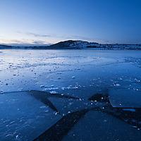Ice covers Llangorse lake at dawn, Brecon Beacons naitonal park, Wales