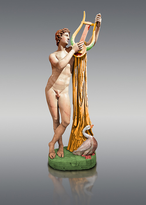 Painted colour verion of 2nd century AD Roman sculpture of Pothos, a copy of a 4th century BC Greek original attributed to Skopas of Paros, inv no 6253, The Farnese collection, Naples Museum of Archaeology, Italy