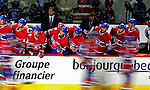 10 April 2010: Montreal Canadiens' bench celebrates Brian Gionta's first period go-ahead goal against the Toronto Maple Leafs at the Bell Centre in Montreal, Quebec, Canada. The Maple Leafs defeated the Canadiens 4-3 in sudden death overtime. Mandatory Credit: Ed Wolfstein Photo