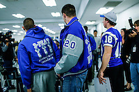 Sayreville's students attend a Board of Education meeting for discussing the continuity of the coaches involved in scandal of sexual assault by the school's football team in Parlin, New Jersey 10.21.2014. Photo by Eduardo MunozAlvarez/VIEWpress