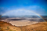 Rainbow over Kilauea Caldera, Hawai'i Volcanoes National Park, Kilauea, Big Island.
