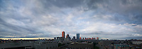 Panorama skyline from Northeastern, storm clouds moving, Boston, MA
