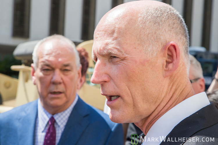 """The Florida press corps question Florida Governor Rick Scott during the Florida Department of Military Affairs and the Florida National Guard sponsored """"Florida National Guard Day"""" at the Capitol"""