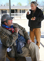 NWA Democrat-Gazette/DAVID GOTTSCHALK  Alvin Davis (left), a resident of the Walker Family Residential Community, speaks with Trey Stanley Thursday, April 6, 2017, at the 7 Hills Homeless Center about the creation of the Independent Workshop, Homeless Workshop, in Fayetteville. Stanley would be a foreman at the shop that would manufacture, produce and sell items by the homeless. The shop is in it's planning stages and would help individuals become self sufficient by gaining marketable skills.