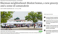 People visit the Northside Farmers' Market on Sunday at Northside TownCenter, on the corner of Northport Drive and Sherman Avenue in Madison's Sherman Neighborhood | Wisconsin State Journal article in Local 9/15/16, and online at http://host.madison.com/wsj/news/local/sherman-neighborhood-modest-homes-a-new-grocery-and-a-sense/article_ff2dcb05-ff4d-52f0-a1df-537d7ee35eb0.html
