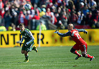26 March 2011: Portland Timbers midfielder Sal Zizzo #7 and Toronto FC defender Mikael Yourassowsky #19 in action during an MLS game between the Portland Timbers and the Toronto FC at BMO Field in Toronto, Ontario Canada..Toronto FC won 2-0....