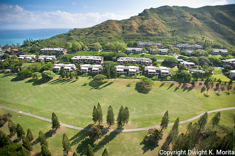 Bluestone Condominiums - Aerial Views, LanikaiBluestone Condominiums - Condos are nestled into the hillside providing views of Windward Oahu and the golf course at Mid-Pacific Country Club.