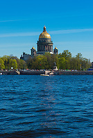 St. Isaak's Cathedral from Neva River Embankment in Saint Petersburg, Russia