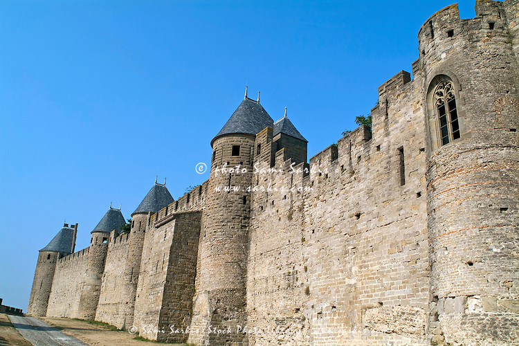 Wall of the medieval city, Carcassonne, France. | Sami ...