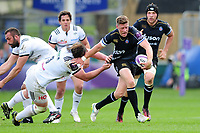 Rhys Priestland of Bath Rugby takes on the Brive defence. European Rugby Challenge Cup Quarter Final, between Bath Rugby and CA Brive on April 1, 2017 at the Recreation Ground in Bath, England. Photo by: Patrick Khachfe / Onside Images