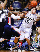 INDIANAPOLIS, IN - FEBRUARY 19: Jerry Jones #5 of the Duquesne Dukes and Rotnei Clarke #15 of the Butler Bulldogs battle for the ball at Hinkle Fieldhouse on February 19, 2013 in Indianapolis, Indiana. Butler defeated Duquesne 68-49. (Photo by Michael Hickey/Getty Images) *** Local Caption *** Jerry Jones; Rotnei Clarke