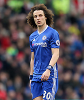 Chelsea's David Luiz<br /> <br /> Photographer Mick Walker/CameraSport<br /> <br /> The Premier League - Stoke City v Chelsea - Saturday 18th March 2017 - bet365 Stadium - Stoke<br /> <br /> World Copyright &copy; 2017 CameraSport. All rights reserved. 43 Linden Ave. Countesthorpe. Leicester. England. LE8 5PG - Tel: +44 (0) 116 277 4147 - admin@camerasport.com - www.camerasport.com