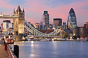 Tower Bridge, the City of London and the River Thames, Dusk.