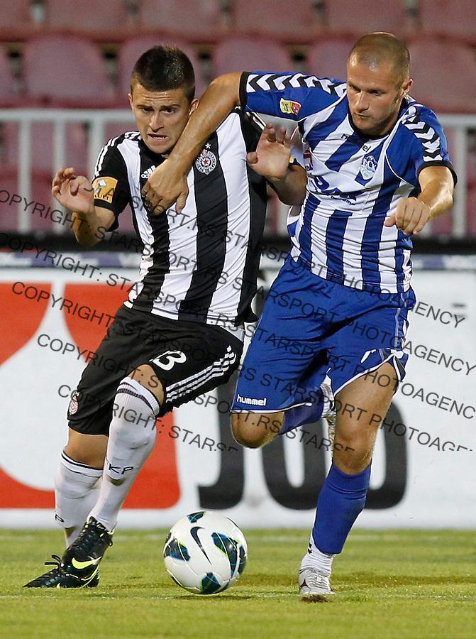 Fudbal season 2012-2013 Jelen Super league.Partizan v BSK Borca.Nikola Aksentijevic left and Aleksandar Petrovic.Beograd, 11.08.2012..foto: Srdjan Stevanovic/Starsportphoto ©