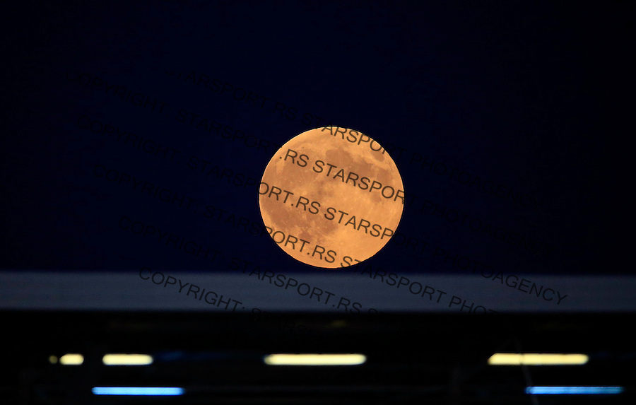 BELGRADE, SERBIA - AUGUST 29. Full moon over the stadium of FK Partizan during the Serbia Super League match between FK Partizan and OFK Belgrade at Partizan stadium in Belgrade, Serbia on Saturday, August 29, 2015. (Photo by Srdjan Stevanovic/Getty Images)