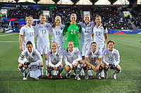 Lorient, France. - Sunday, February 8, 2015: USWNT starting XI. USWNT vs France during an international friendly at the Stade du Moustoir.