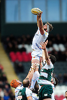 Geoff Parling of Exeter Chiefs wins the ball at a lineout. Aviva Premiership match, between Leicester Tigers and Exeter Chiefs on March 6, 2016 at Welford Road in Leicester, England. Photo by: Patrick Khachfe / JMP