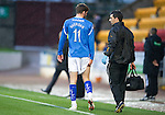 St Johnstone v Hibernian...26.11.11   SPL .Cillian Sheridan leaves the pitch clutching his hamstring with physio Frank Kenny.Picture by Graeme Hart..Copyright Perthshire Picture Agency.Tel: 01738 623350  Mobile: 07990 594431