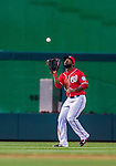 5 April 2014: Washington Nationals outfielder Denard Span pulls in a fly ball during action against the Atlanta Braves at Nationals Park in Washington, DC. The Braves defeated the Nationals 6-2 to take the second game of their 3-game series. Mandatory Credit: Ed Wolfstein Photo *** RAW (NEF) Image File Available ***