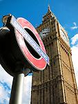 Tube Station Sign and Big Ben Juxtaposed, London, UK
