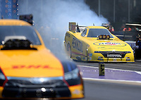 Apr 30, 2016; Baytown, TX, USA; NHRA funny car driver Matt Hagan during qualifying for the Spring Nationals at Royal Purple Raceway. Mandatory Credit: Mark J. Rebilas-USA TODAY Sports