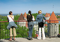Tourists Looking Old Medieval Tallinn Skyline, Estonia