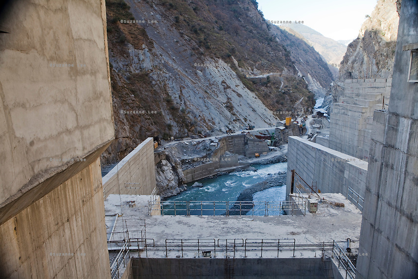 Civil work commences as the Chamera III dam gate is opened to let water out of the newly-built NHPC hydroelectric dam, built on the River Ravi in Chamba valley, Himachal Pradesh, India, on 22nd March, 2012. Photo by Suzanne Lee/CapaPictures for ALSTOM Hydro
