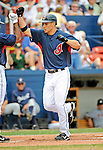 11 March 2008: Cleveland Indians' center fielder Grady Sizemore celebrates hitting a home run during a Spring Training game against the Detroit Tigers at Chain of Lakes Park, in Winter Haven Florida. The Tigers rallied to defeat the Indians 4-2 in the Grapefruit League matchup...Mandatory Photo Credit: Ed Wolfstein Photo