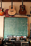 "October 28, 2010. Graham, NC.. Display instruments and pedals in Fret Sounds, a guitar repair shop owned by guitar player Brian Haran.. Filthybird, a five piece composed of Brian Haran, Renee Mendoza, Sanders Trippe, Jim Bob Aiken and  Mike Duehring, recently released their full length album ""Songs for Other People"" on Holidays for Quince Records.. ."