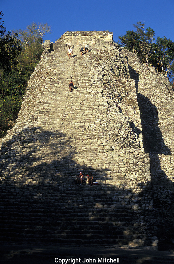 The Great Pyramid or Nohoch Mul (Great Mound) at the Mayan ruins of Coba, Quintana Roo, Mexico.This is the tallest (42 metres) Mayan structure on the Yucatan peninsula.