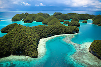 The amazing colors of the protected &quot;70 islands&quot; in the surreal archipelago of Palau can only be seen, and appreciated from the sky.  Protected for nearly 50 years this small group of kaleidoscopic motus hosts a wide range of sea life, including the endangered dugong, or sea cow.