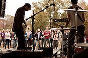 October 26, 2012. Durham, North Carolina.. Spider Bags Dan McGee, Rock Forbes, and Steve Oliva joined Mac McCaughan of Merge Records and Titus Andronicus for a show at the Farmer's Market to help promote early voting and the reelection of President Barack Obama.