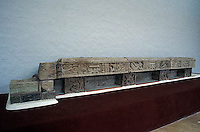 Maya Hieroglyphic Bench or Skyband Bench  in the Copan Sculpture Museum , Copan, Honduras