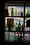 Bottles in window of Randsburg antique shop