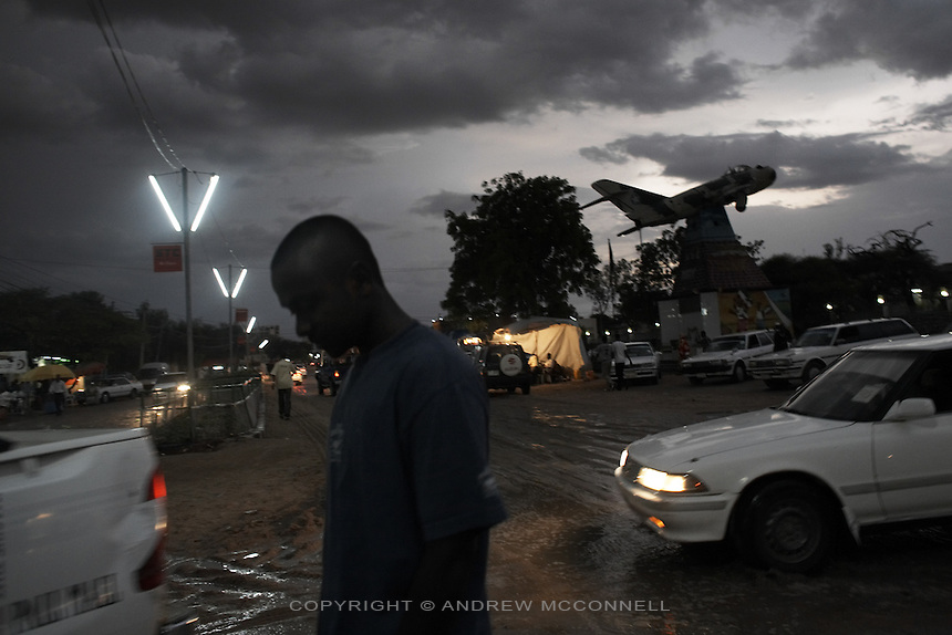 A MiG fighter jet which was used to bomb Hargeisa during the civil war stands as a memorial in the center of the city, Somaliland.
