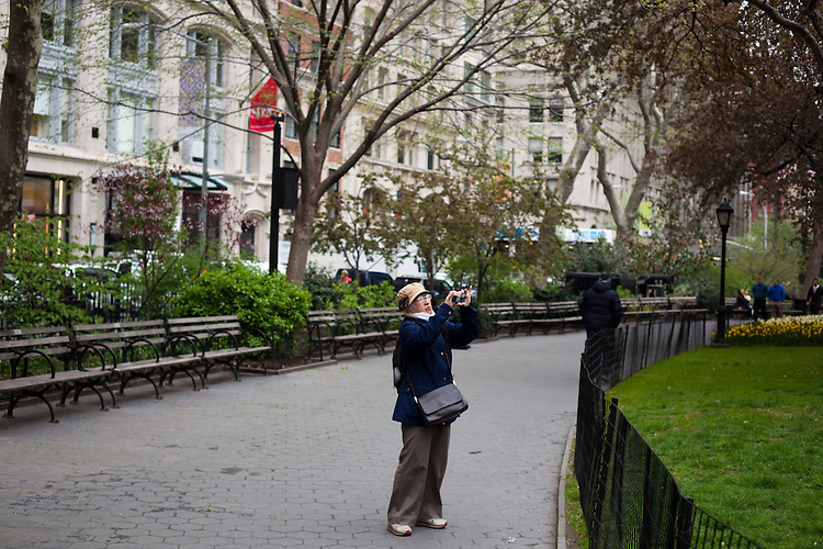 A woman takes pictures in the park inside Madison Square Park. ..There is a restaurant/bar boom happening on 26th Street between Broadway and 7th Avenue in Manhattan. About six new places have opened up in the last 8 months. This area of development is called NoMad (north of Madison Sq. Park)...Photographed on 4/23/13 by Mark Abramson for The Wall Street Journal.