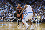 18 February 2017: Virginia's Devon Hall (0) and North Carolina's Kennedy Meeks (3). The University of North Carolina Tar Heels hosted the University of Virginia Cavaliers at the Dean E. Smith Center in Chapel Hill, North Carolina in a 2016-17 Division I Men's Basketball game. UNC won the game 65-41.