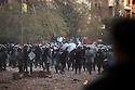 Egyptian security forces throw rocks and charge at protestors during ongoing demonstrations November 20, 2011 near Tahrir square in central Cairo, Egypt.  Protestors demanding the transition of power from military to civilian control clashed with Egyptian security forces for a second straight day in central Cairo, with hundreds injured and at least 11 protestors killed.  (Photo by Scott Nelson)