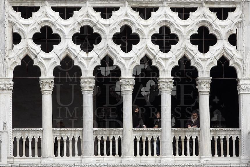 Dettaglio della facciata della Ca' d'Oro a Venezia.<br /> Detail of the facade of the Ca' d'Oro in Venice.<br /> UPDATE IMAGES PRESS/Riccardo De Luca