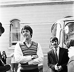 Beatles 1967 Paul McCartnwy and Ringo Starr at start of Magical Mystery Tour .© Chris Walter.