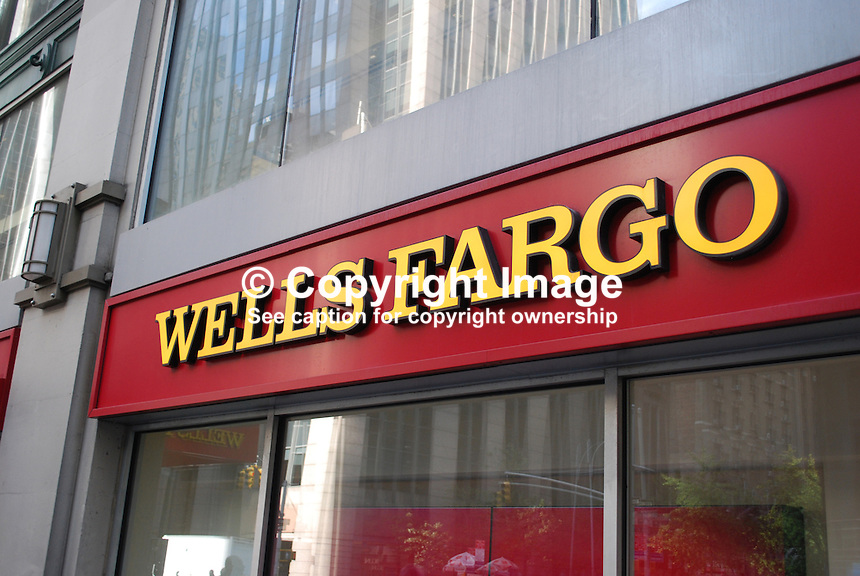 Signage, logo, Wells Fargo Bank, New York, USA, 201110215329..Copyright Image from Victor Patterson, 54 Dorchester Park, Belfast, United Kingdom, UK...For my Terms and Conditions of Use go to http://www.victorpatterson.com/Victor_Patterson/Terms_%26_Conditions.html
