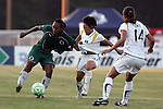 24 June 2009: Kia McNeill (left) of Saint Louis Athletica shields the ball from Aya Miyama (center) of the Los Angeles Sol as teammate Stephanie Cox (14) of the Los Angeles Sol looks on.  Saint Louis Athletica was defeated by the visiting Los Angeles Sol 1-2 in a regular season Women's Professional Soccer game at AB Soccer Park, in Fenton, MO.